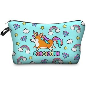 Corgicorn Unicorn Make up Cosmetic Bag